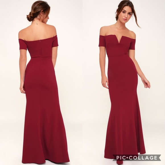 72c2c9dee295 Lulu s Dresses   Skirts - Lulus LYNNE BURGUNDY OFF-THE-SHOULDER MAXI DRESS